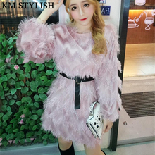 New Fashion Korean Solid Color Lantern Long Sleeve Corrugated Tassel Feather Dress With Belt Black , White , Pink , Purple Color