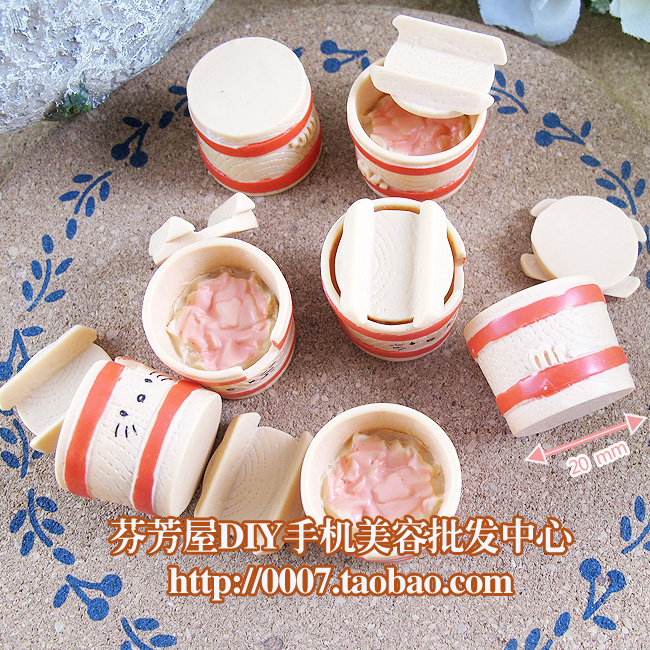 5pcs Cup+5pcs Lid Solid Resins Japanese Ginger Bowl Candy Toys 20mm Mixed Kawaii Cabochons For DIY