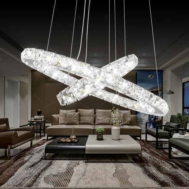 US $107.09 10% di SCONTO|Moderno LED Lampadario Di Cristallo Illumina La  Lampada Per Soggiorno Cristal Lustre Lampadari di Illuminazione Ciondolo ...