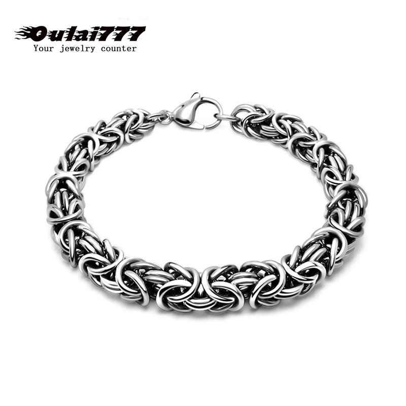 2019 stainless steel men bracelet on hand link chain charm gifts for male mens chain link personalized bracelets hip hop rock