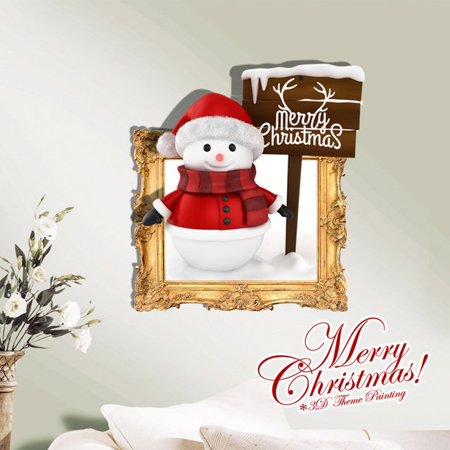 Christmas Party Stickers Home Creative Decoration Mural 3D Painting Santa Snowman Wallpaper Kids Room Wall