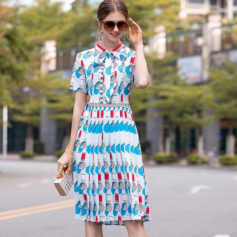 2019 Summer Pretty Print Pleated Dress High Quality Sweet Short Sleeve O neck Bow Knee Length