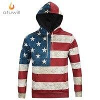 Atuwill American Flag M 3XL Unisex 3d Print Hooded Sweatshirt Funny Long Sleeve Casual Hoody Pullover