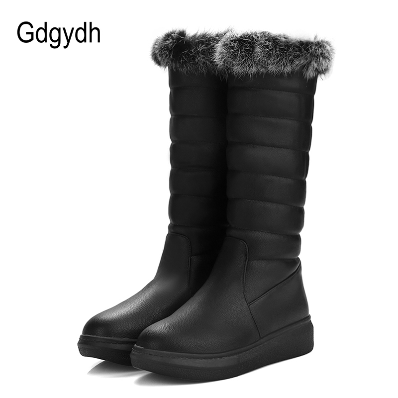 Gdgydh Real Fur Snow Boots Women Flat With Female Warm Shoes For Winter Plush Inside Black White Sewing Good Quality Plus Size