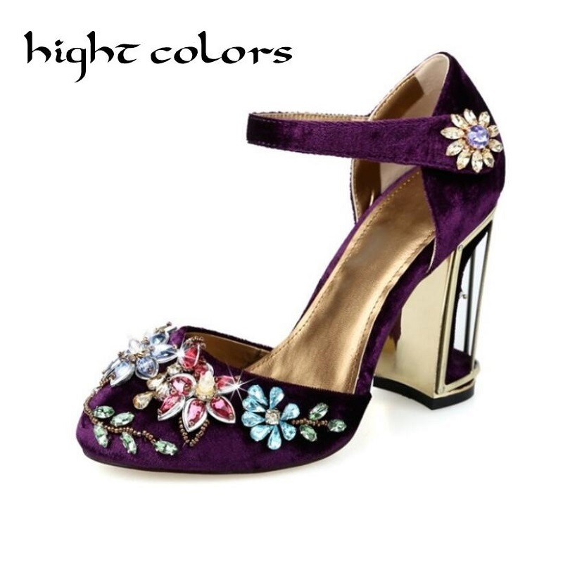 2018 European Spring New Fashion Tide Shoes Gold Velvet Thick Heels Rhinestone Sandals Wedding Shoes For Women High Heel Pumps 2016 spring new european and american fashion shoes thick with fish head shoes nightclub new ultra high heels sandals b454