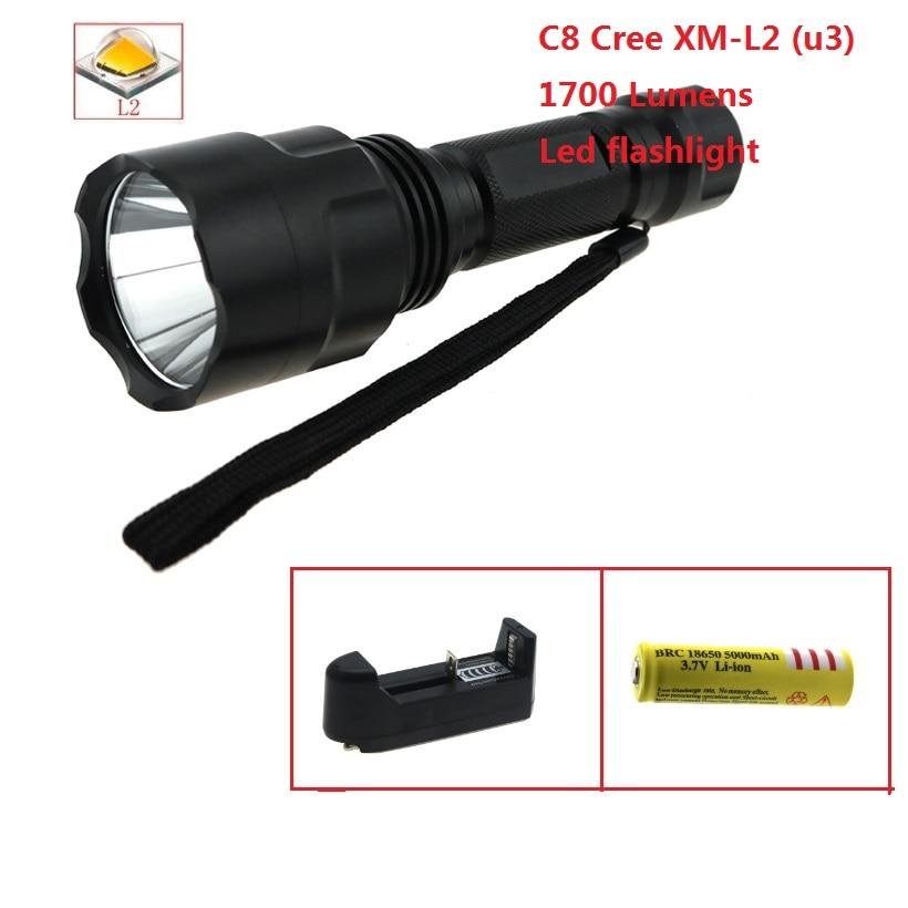OEM C8 CREE XM L2 U3 светодиодный 1700 люмен светодиодный тактический фонарик Фонарь велосипедный фонарь + зарядное устройство + 5000 мАч 18650 батарея