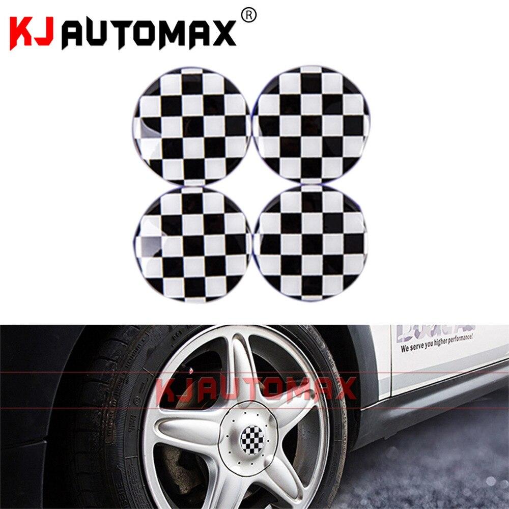 4PCS Checker Flag For Mini Cooper Decoration Sticker Wheel center cover Car Accessories British style