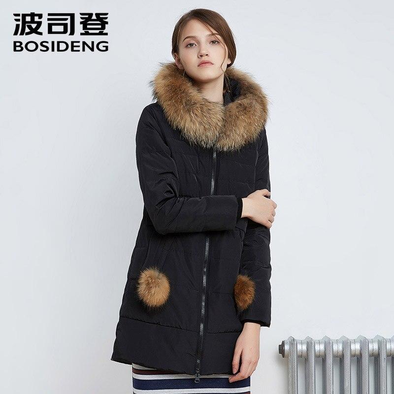 BOSIDENG 2017 ใหม่ฤดูหนาวผู้หญิงเสื้อแจ็คเก็ต Warm คุณภาพสูงผู้หญิง Parka Jacket เสื้อฤดูหนาว Hood ขนสัตว์จริง B1601234-ใน เสื้อโค้ทดาวน์ จาก เสื้อผ้าสตรี บน   3