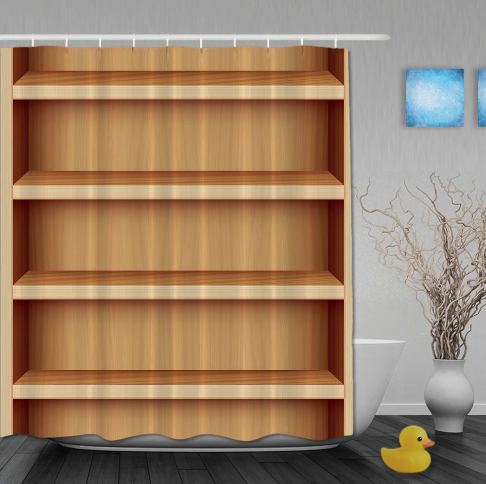 Custom Modern Bookshelf Wood Yellow Shower Curtains Waterproof High ...
