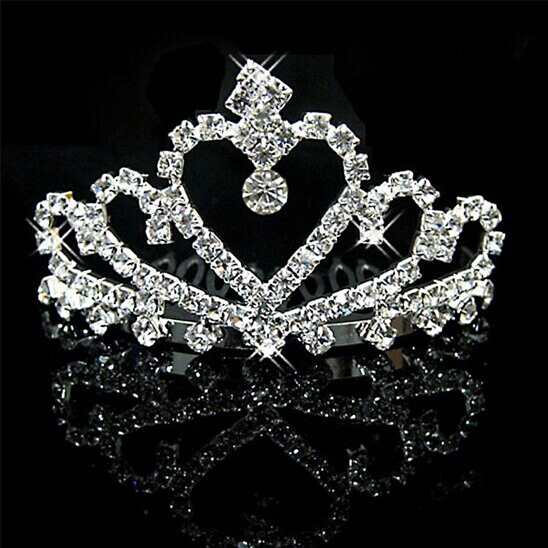 TREAZY Wholesale 10pcs Crystal Heart Shape Small Wedding Crowns Tiaras Hair Combs Bridal Bridemaid Children Jewelry Accessories