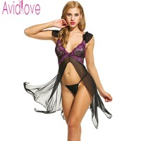 Avidlove Brand Sexy Nightdress Women V Neck Lace Lingerie Sexy Hot Erotic Nightwear Asymmetrical Open Front