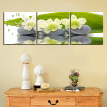 Free Shipping E-HOME NarCissus And Stone Clock in Canvas 3pcs wall clock