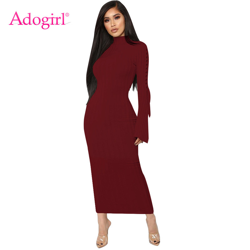 a475ab67bfe8 Adogirl Grommet Lace Up Bell Sleeve Bodycon Maxi Dress Highly Stretchy Turtleneck  Long Sleeve Sheath Ribbed
