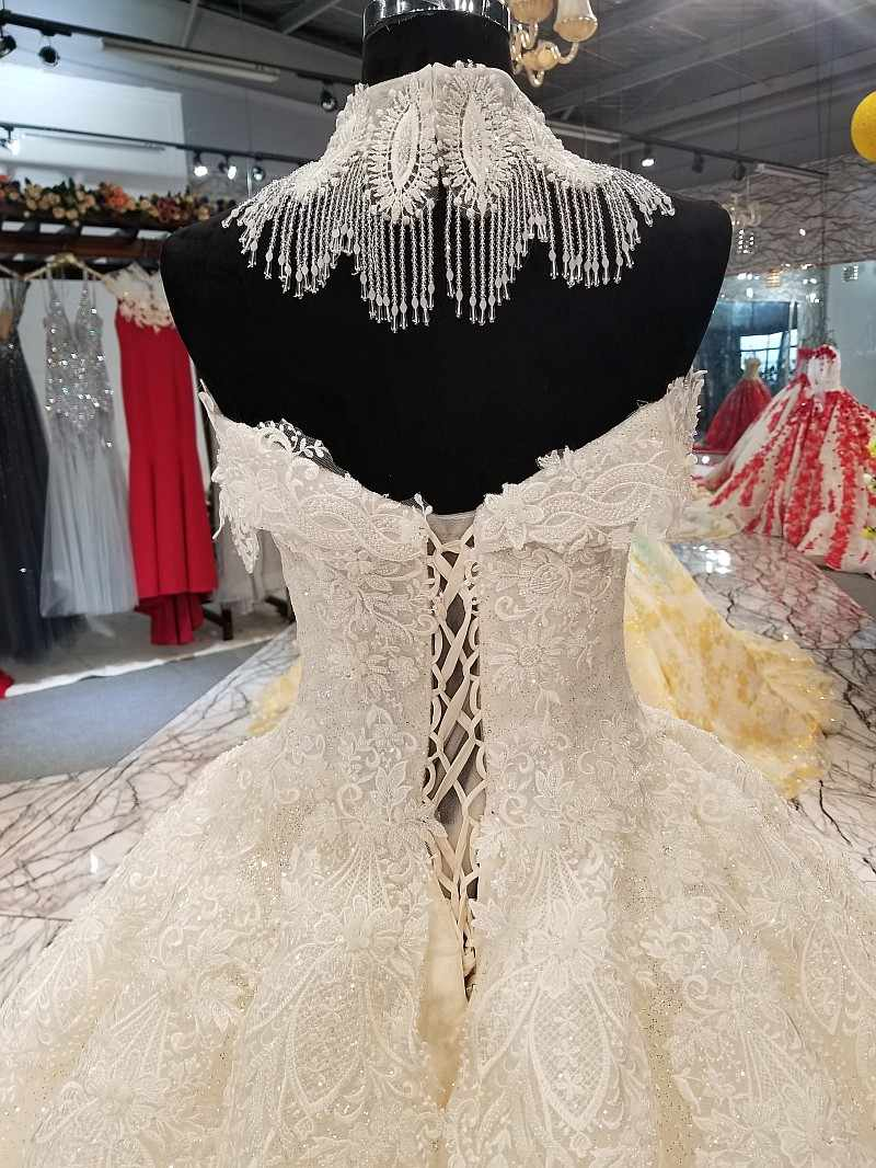 LS01440 beaded necklace decoration sweetheart wedding gown off shoulder backless bridal wedding dress with luxury beauty choker