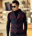 Men Fashion Vintage Autumn And Winter Thicken Plaid Men'S Waistcoats Woolen Vest Male Winter Brand Clothing