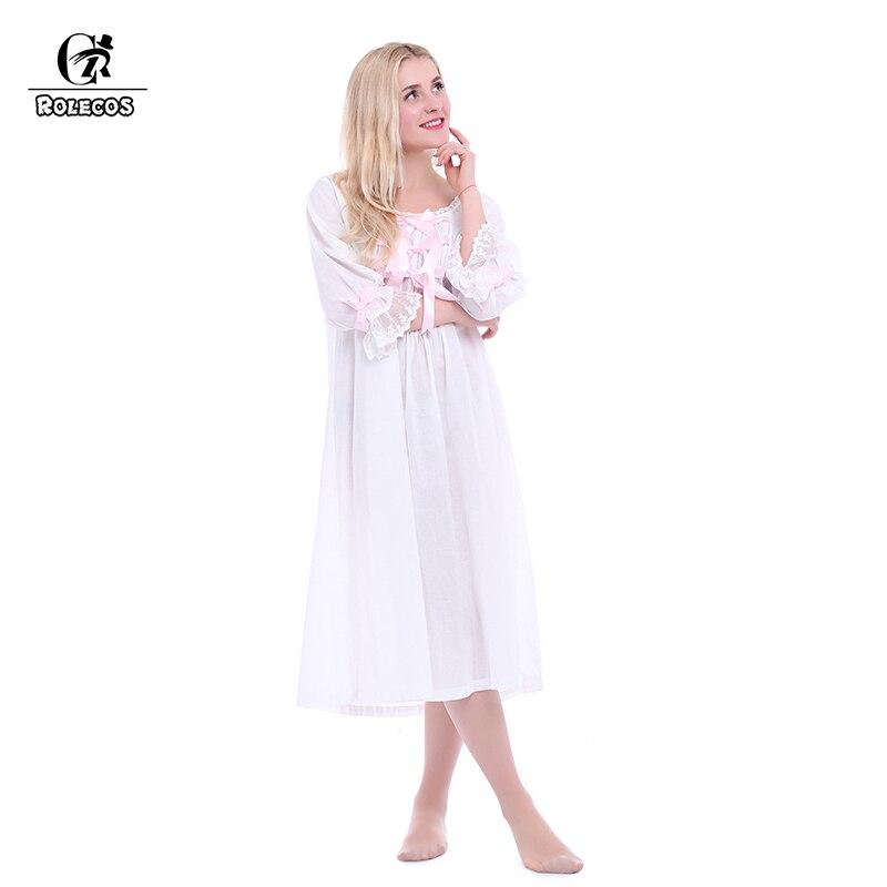 ROLECOS Vintage romantique classique princesse à manches longues coton vêtements de nuit femmes chemises de nuit avec Bowknot conception vêtements
