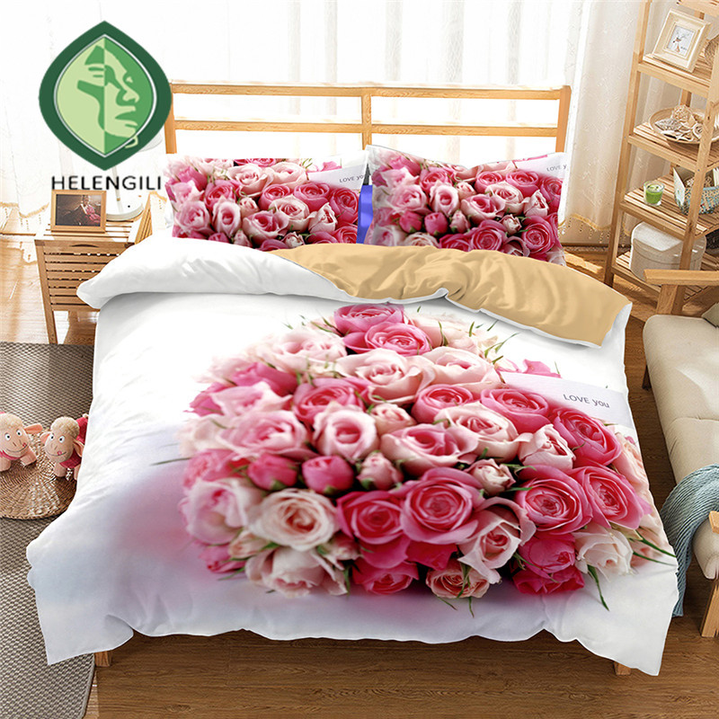 HELENGILI 3D Bedding Set Bouquet Of Roses Print Duvet cover set lifelike bedclothes with pillowcase bed set home Textiles #2-07HELENGILI 3D Bedding Set Bouquet Of Roses Print Duvet cover set lifelike bedclothes with pillowcase bed set home Textiles #2-07