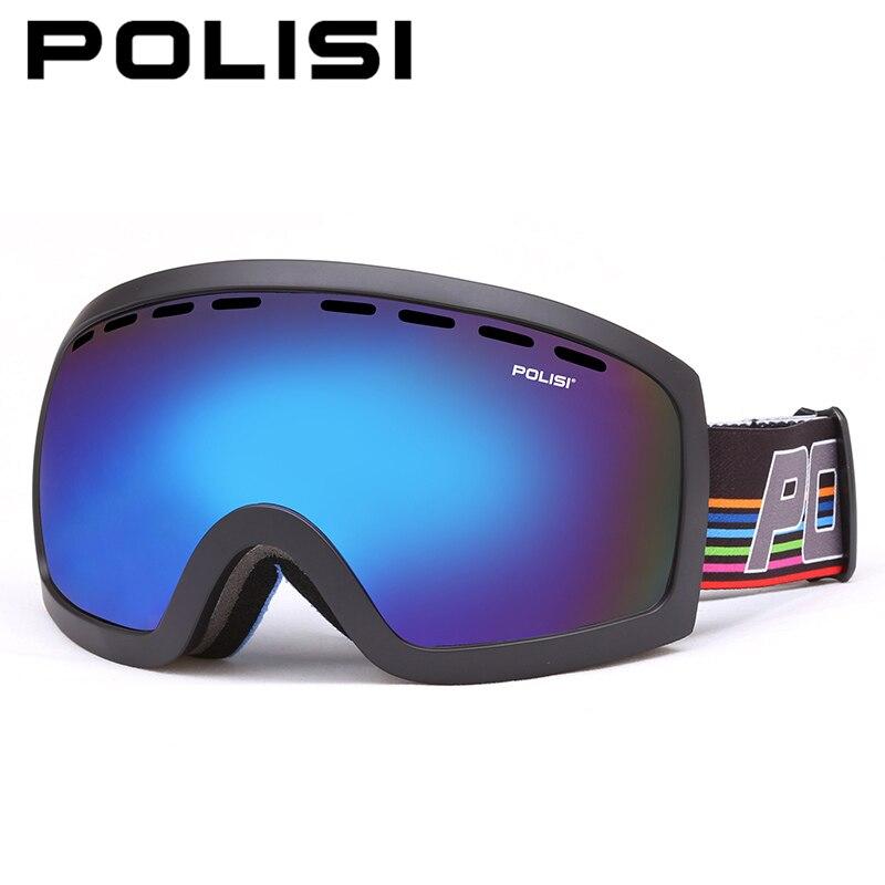 POLISI hiver Anti-buée motoneige lunettes UV400 Double couche Anti-buée lentille bleue neige ski lunettes Snowboard lunettes de protection