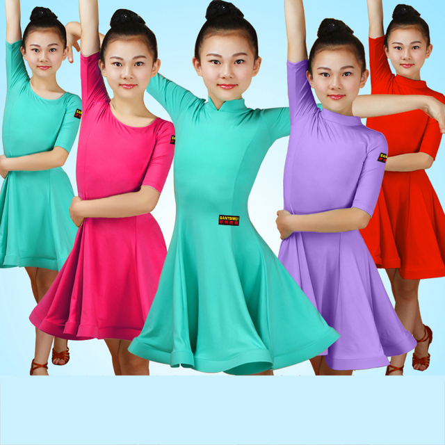 f540c073f 2018 Latin Dance Dress Polyester Short Sleeve Girls Ballroom Dance ...