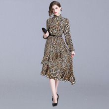 women leopard print Ruffled collar long sleeve retro ladies casual chic dresses fashion Asymmetrical dress asymmetrical sleeve botanical print dress