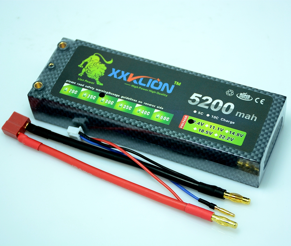 XXKLION Power 7.4V 5200mAh Lipo Battery 30C 2S Battery Hard Case 2S 1P Lithium Polymer Batterie For RC car RC boat Free Shipping