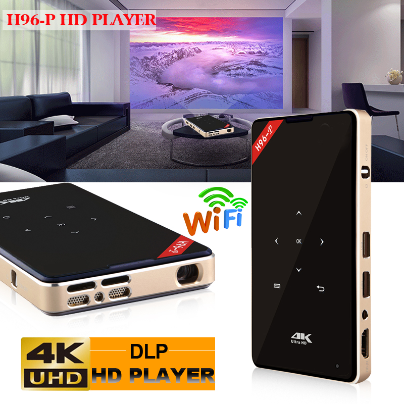 H96-P Android TV Box projecteur 200 pouces DLP RGB LED poche Mini WiFi 5G Android projecteur 2G RAM DDR3 16 GB ROM Mini TV Portable
