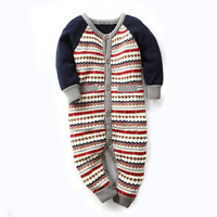 2017 Newborn Clothes Baby Romper Long Sleeve Knitted Sweater Jumpsuit Baby Boy Costume For Spring Autumn