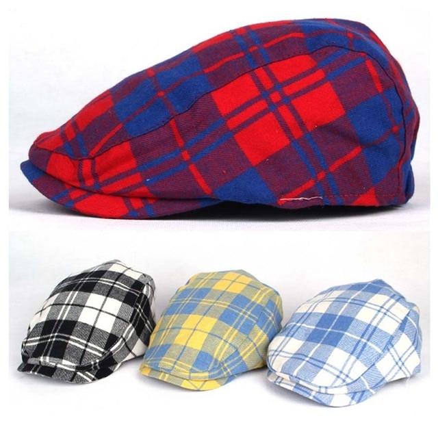 Kids Boys Girls Baby checked Flat Cap Newsboy Baker Boy Cabbie Beret Gatsby  Hats 29d23eb33a8
