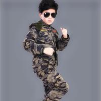 Children Camouflage Sets 2019 Baby Boys Girls Clothes Fashion Army Uniform Thicken Kids Set long sleeve Warm Jacket + pants Y186
