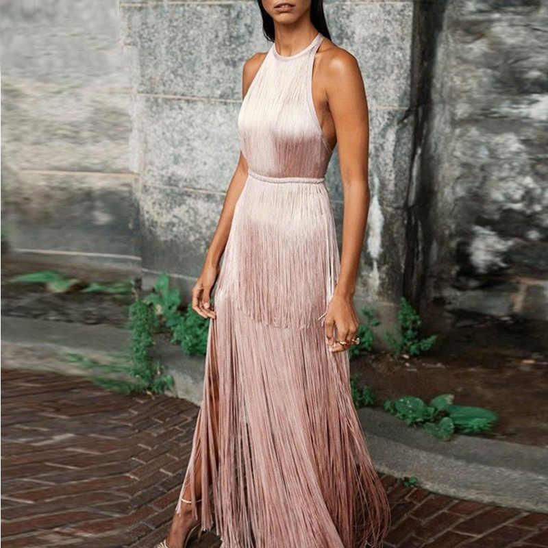 Слоистая кисточка Холтер длинное платье для женщин без рукавов летнее платье 2019 элегантное вечернее платье макси бодикон vestidos femme