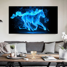 Abstract Modern poster blue horse painting Animal print canvas paintings for living room wall woonkamer decor