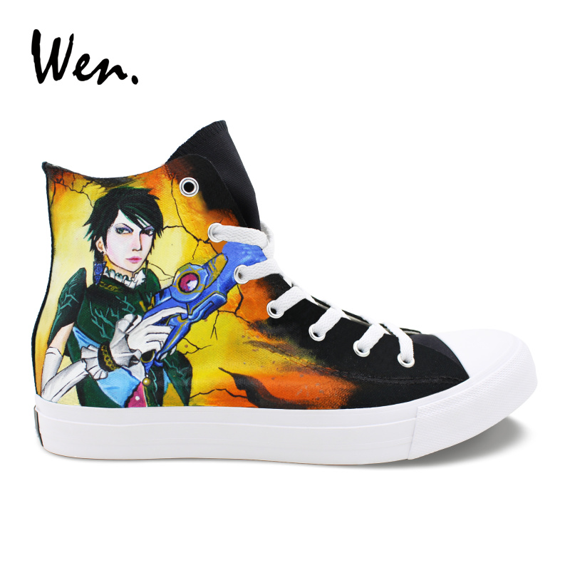 Wen Men Women Black Shoes Canvas Painting Custom Hand Painted Bayonetta And Rosa Sneakers High Top Tie Up Plimsolls Laced Flat wen custom hand painted shoes pet cat canvas sneakers women high top men plimsolls black espadrilles flat cross straps trainers