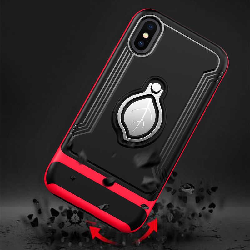 Marca de luxo Anel de Folha de Suporte Magnético Caso de Telefone Para o iphone 6 6 S 7 8 Plus Caso de Telefone Suporte para Carro capa Para o iphone X XR XS MAX