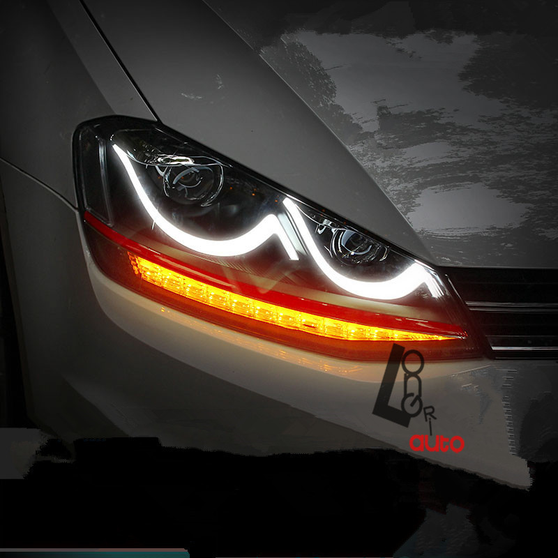 car styling HID Xenon HeadLight with LED DRL For VW Golf MK7 VII 2013-2015 Lamps 4x6 inch rectangle auto light led headlight replacement hid xenon h4651 h4652 h4656 h4666 h6545 h4 front led headlight with drl
