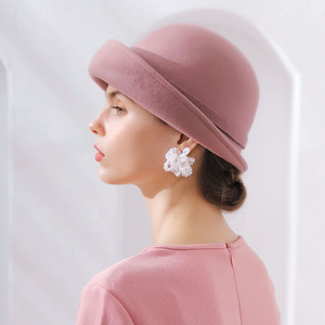 Image 3 - Fibonacci 2018 New Brand Quality Flanging Floral Wool Felt Fedoras Womens Autumn Winter Hats Dome Elegant Banquet Fedora Hat