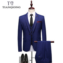 2019 New Arrival Royal Blue Costume Homme Men Suits for Wedding 3Pieces(Jacket+Pant++Vest+Tie) Terno Masculino Groom Blazer(China)
