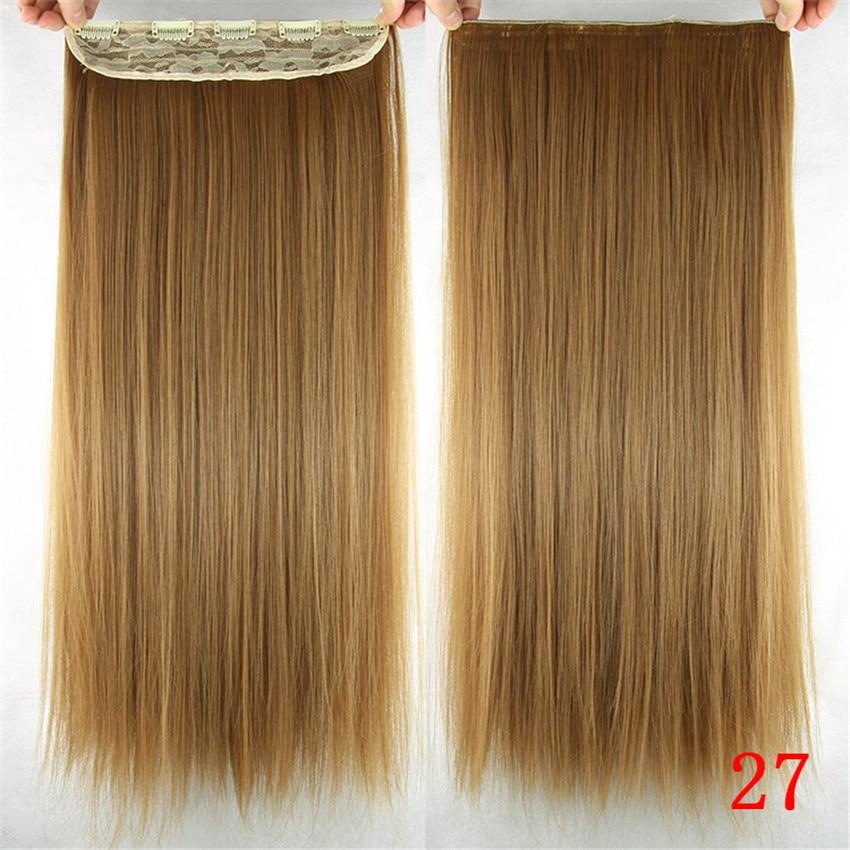 Feibin Clip In Hair Extension Syntetisk Hårstycke Lång 60cm 24 - Syntetiskt hår - Foto 4