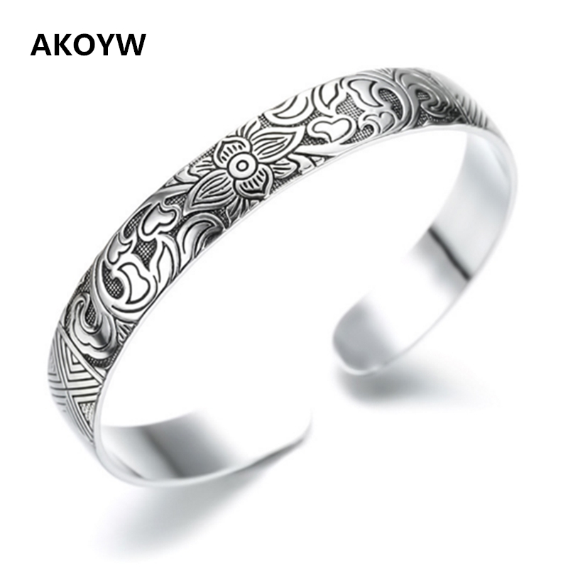 Lotus Thai Silver plated retro silver leaf black bracelet Men Women New jewelry fashion retro high-quality Bangles