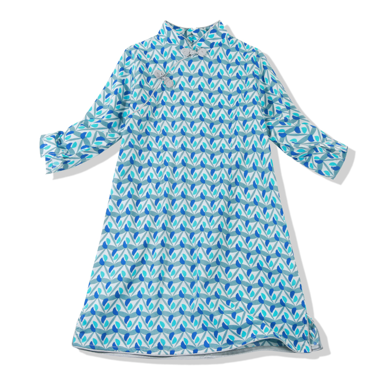 Chouchouchic Summer Children Clothing Girls Dress Party wear Cotton three quarter sleeve Chinese style Qipao Blue gray leaves игрушка ecx ruckus gray blue ecx00013t1
