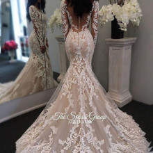OKOUFEN Mermaid Wedding Dresses Court Train Long Sleeves
