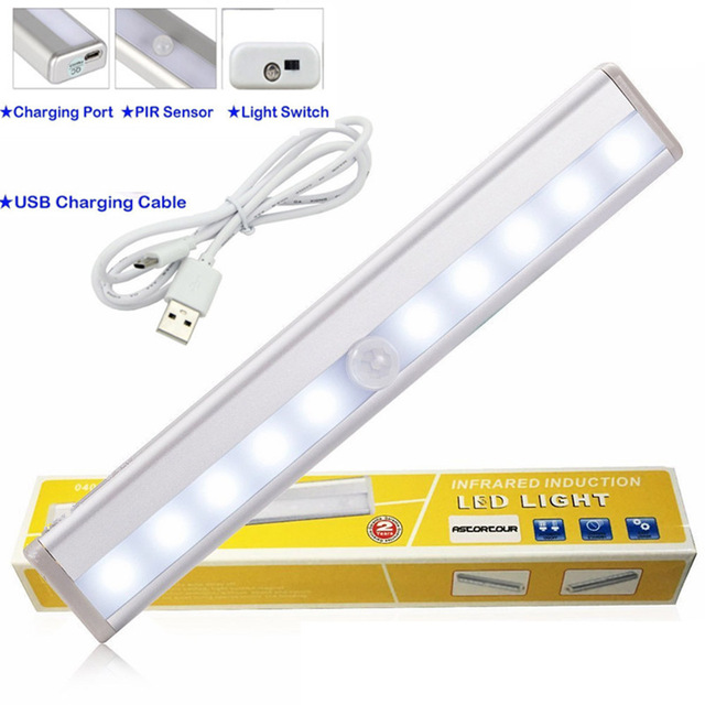 wireless motion sensor light stickon portable 500ma 10 led closet cabinet led bar