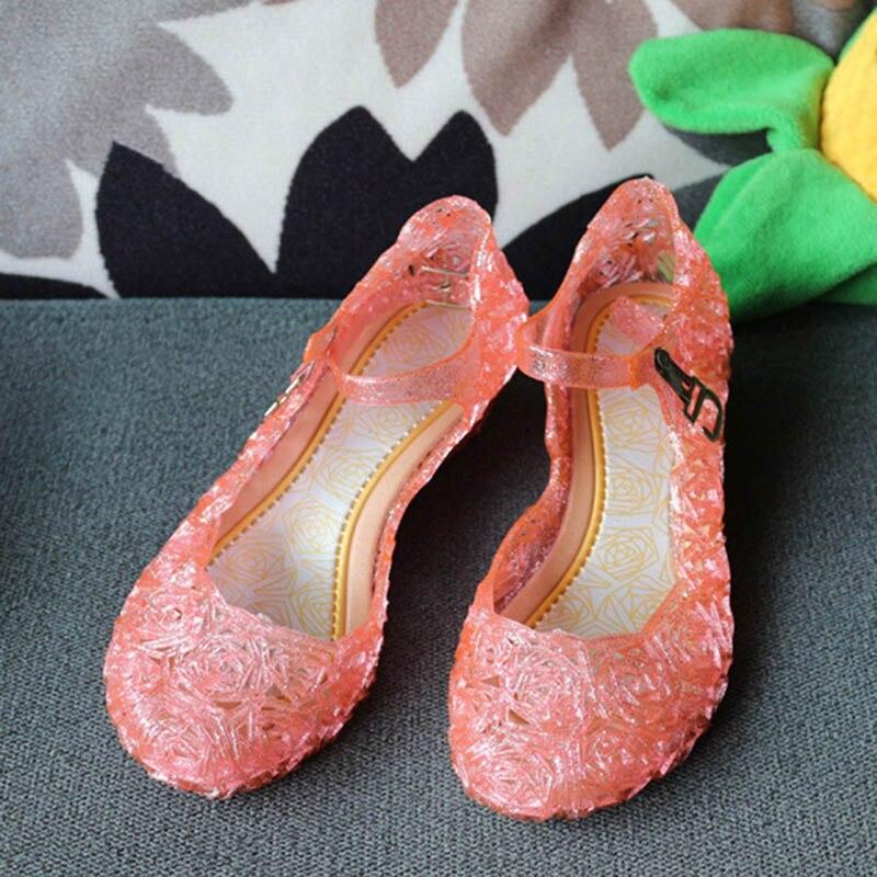 2018 baby shoes Retail Princess Elsa summer girls shoes children sandals hole crystal party dance shoes 3 colors ...