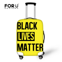FORUDESIGNS Black Letter Print Case Covers Fashion Travel Accessories For Women Men Afro Art Luggage Protector Cover Wholesale
