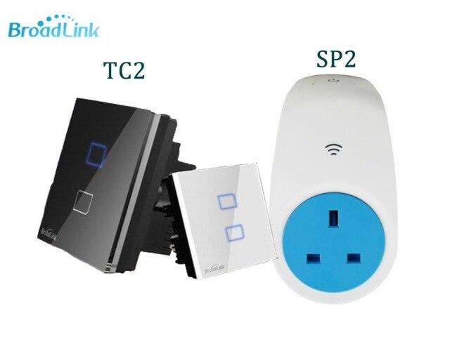 Broadlink casa inteligente tc2-2 gangue painel de toque de vidro interruptor de luz wi-fi sp2 + eu/reino unido soquete de energia inteligente, controle remoto via ios android