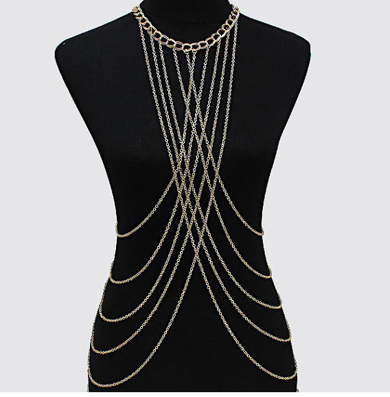 Fashion Golded Belly Waist Beach Harness Necklace Womens Sexy Bikini Multilayer Chain Necklace AN293