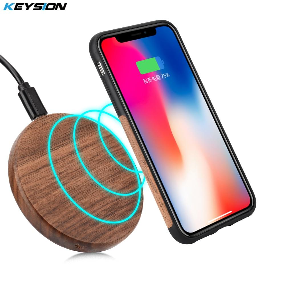 KEYSION 7.5W Qi Wireless Charger Wood fast Wireless