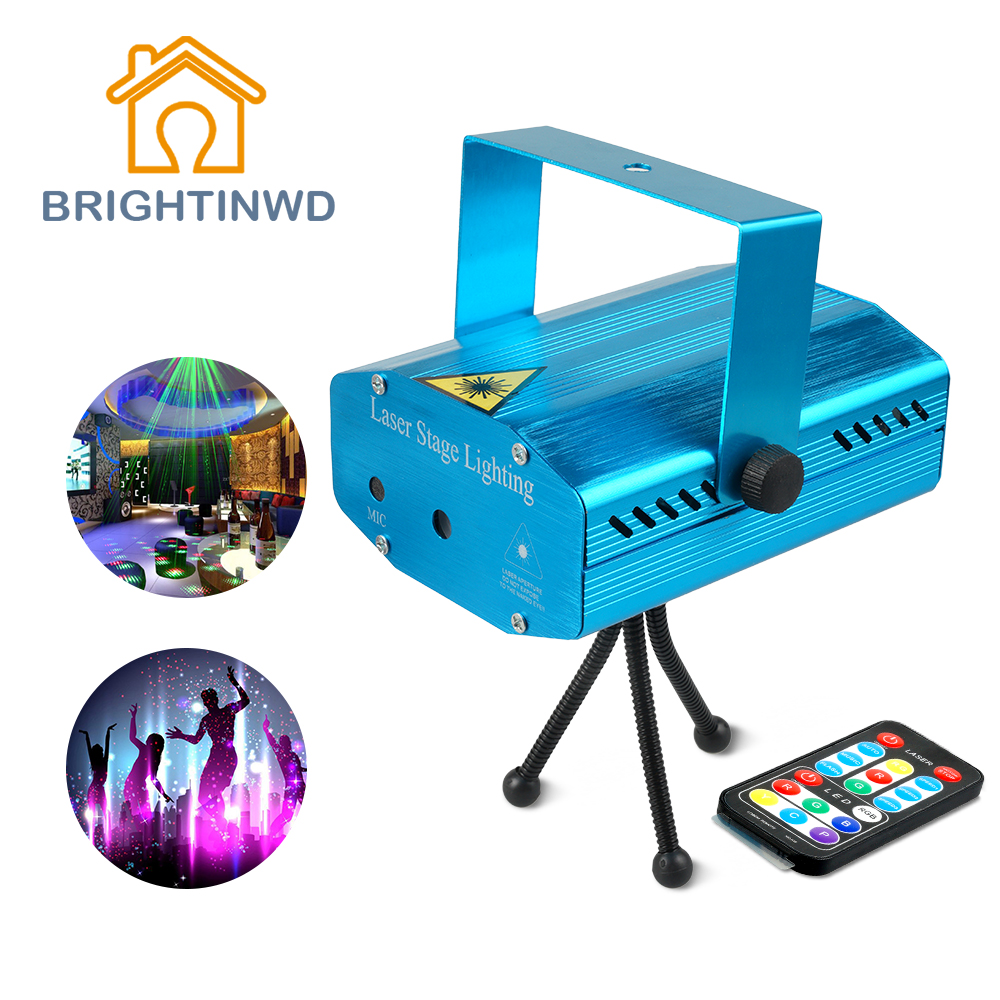 2018 Mini Portable 110-240V Wonderful R&G Red Green Laser Projector Stage Light Night Club Lighting Home Party DJ Disco EU Plug rg mini 3 lens 24 patterns led laser projector stage lighting effect 3w blue for dj disco party club laser