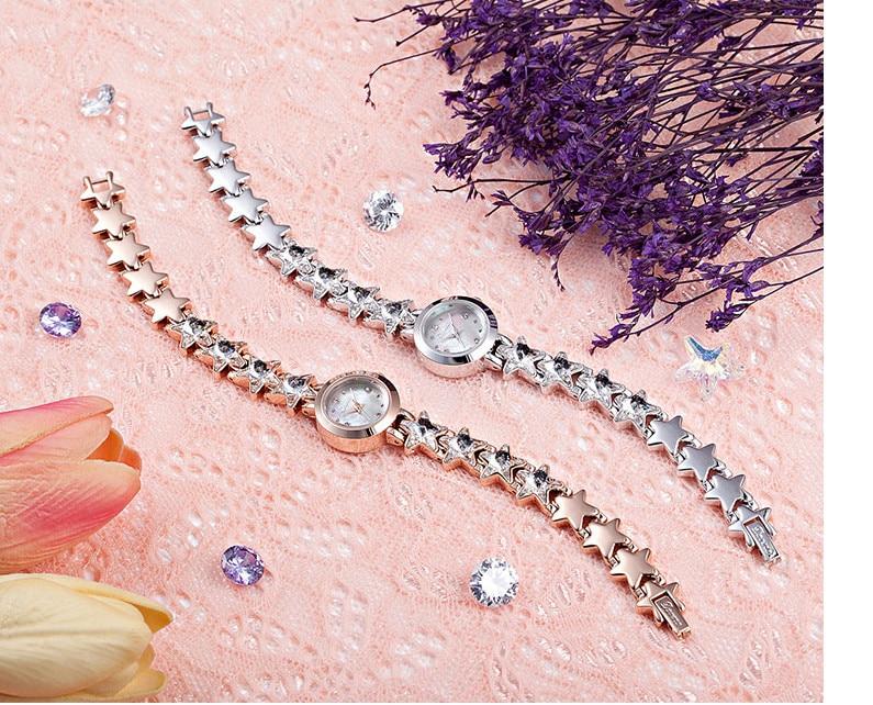 ddea764d058b Moda coreano estilo niñas vestido de tamaño pequeño cuarzo cristalino  brillante estrellas pulsera Shell reloj analógico Montre femme
