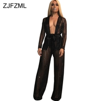 Sheer Mesh See Through Sexy Two Piece Set Women Clothes Shiny Long Sleeve Sashes Tops+Vertical Striped Wide Leg Pants Tracksuit