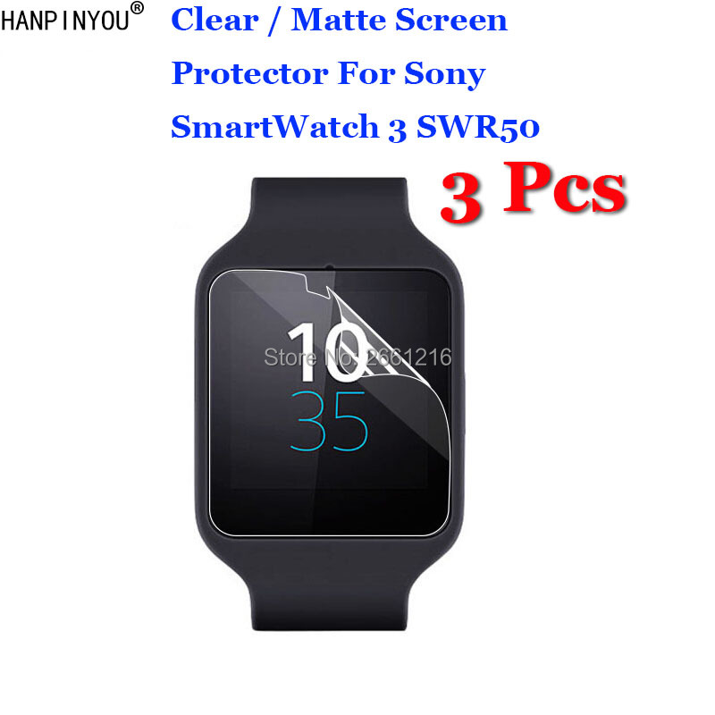 3 Pcs/Lot HD Clear / Anti-Glare Matte Anti-Scratch Screen Protector Protection Film For Sony SmartWatch 3 SmartWatch3 SWR50